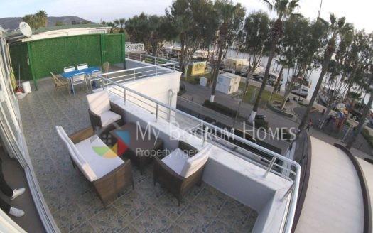 Bodrum Marina cadde üzerinde deniz manzaralı sezonluk kiralık