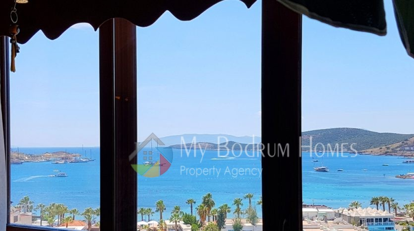 Sea and Kos island view Apartment for Sale in Gumbet Bodrum. 2+1 rooms, sea view apartment, kos island view, 3 rooms apartment, in Gumbet Bodrum